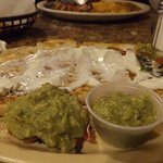 Fabulous cheese quesadilla with sour cream and glacamole