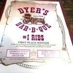Menu, Dyer's Bar-B-Que #1 Ribs, Amarillo, Texas