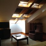 The sitting area and skylights