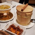 Shark Fin Soup Dumpling; Sweet Tofu Pudding in wooden bowl