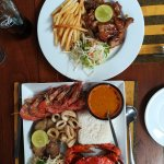 Mixed sea food platter and honey chicken