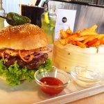 Kimchi burger + sweet potato fries