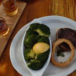 Filet and flight of Texas whisky