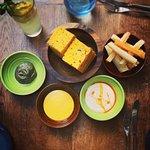 Bread & Yuca Chips with dips (Yoghurt Maca, Aji & Avacado Seaweed)