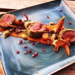 Lamb Loin w/ Spiced Carrot Puree, Cashews, and Pomegranate