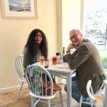 Enjoying Cornish pasties and cider