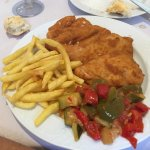 Escalope (chicken) from lunch menu with fries and ratatouille