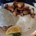 This was the chicken fried steak comes with eggs and home fires
