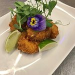 Breaded King Prawns with Chili and Lime butter