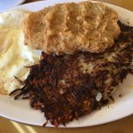 Chicken Fried Steak, Extra Crispy Hash Browns and Eggs of Medium