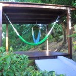 relax area in the garden with hammocks