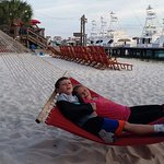The beach area had nice seating and hammocks, plus toys for the kids.