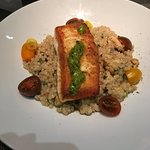 Seared Halibut over cauliflower couscous.