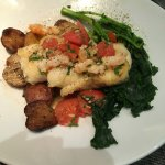 Roasted Cod Shrimp Scampi, tomatoes, baby potatoes and broccoli rabe.