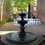 courtyard area, set up for a wedding