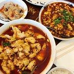 Dumplings in Sichuan sauce, Mapo tofu, Fish fillet (hot sauce)