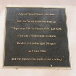 plaque on John McDouall Stuart statue