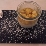 Panna cotta with mango and passion fruit
