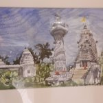 Painting of temple scene on a wall in the hotel