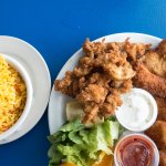 Conch, rice, and other fish