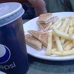 childs' cheese toasties and chips and chocolate milkshake