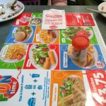 children's menu which has a board game on the back