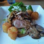 Pork loin, wild mushrooms in cream sauce