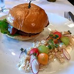 Crab cake on brioche with couscous salad