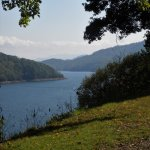 View of Fontana Lake from entrance road to Village