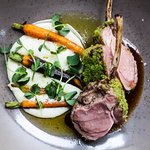 Saddle of lamb in herb crust with baby carrots and sage, potato purée and Cesare balsamic vineg