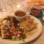 Beef enchiladas with green chili sauce