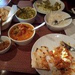 Chicken Tikka Masala, Paneer Saag, Garlic Naan, Mango Chutney, Rice
