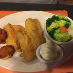 Fish, hushpuppies and veggies for the paleo eaters
