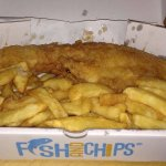 Haddock and Chips, Looks quite greasy but is more vinegar splash damage...Awesome place.