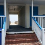 the breezeway between rooms to the beach area