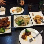 Generals Chicken, Fried Rice and shrimp with chestnuts