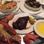 Surf and turf special.. lobster bisque, lobster & ribeye, sprouts, au gratins, cheesecake and ch