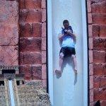 Gatlin going down the leap of faith water slide he said he felt like he was going 70 miles an ho