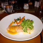 Pan seared Salmon in passion fruit beurre blanc sauce