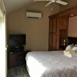 Bedroom with ceiling fan and own AC/heating unit