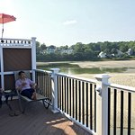 Enjoying a beer on the deck overlooking an emptied Ogunquit River at low tide