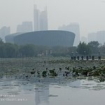 View across Long Hu Park lake to the theatre....