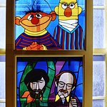Stained glass homage to Jim Henson and Frank Oz
