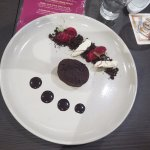 Chocolate cake with beetroot sorbet