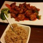 Sesame chicken, fried rice.