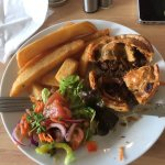 Wild boar and chorizo pie, salads and chips 😋!