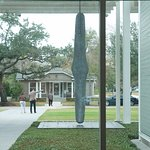 View of the exterior of the Menil Collection from the foyer