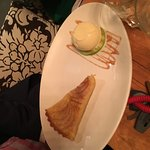Pear tart and sorbet