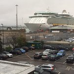This is how close the cruise ship was to the hotel. This was taken from the hotel room window.