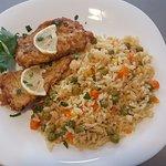 Filetes de Bacalhau com arroz primavera